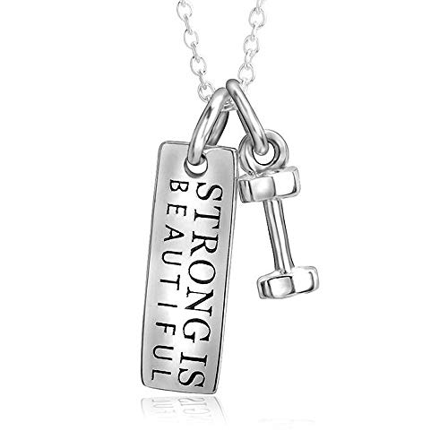 ANLW S925 Sterling Silber Frauen Pendant Halskette Fitness-Accessoires Hantel Clavicular Kette Schmuck