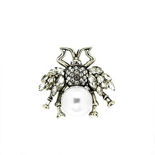 Sweet Deluxe Brosche Spider small, antiksilber/Crystal/Perle I ausgefallene Blusenbrosche für Damen & Mädchen I Frauen-Brosche für Abendkleid & Bluse I Anstecknadel