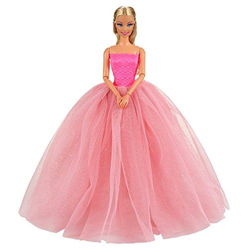 Miunana Ballkleid Prinzessin Kleidung Kleider mit Brautschleier für Barbie Puppen Weihnachten Geschenke (PInk) (Puppe Prinzessin Kleidung)