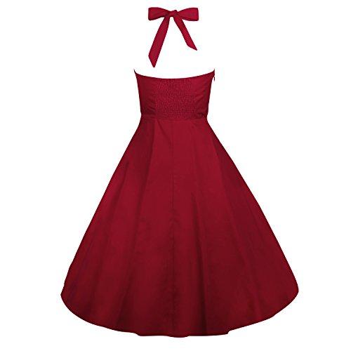 LUOUSE Robe de Bal/Soirée Licou Vintage année 40 50 60 avec des Points Polka E053-WineRed