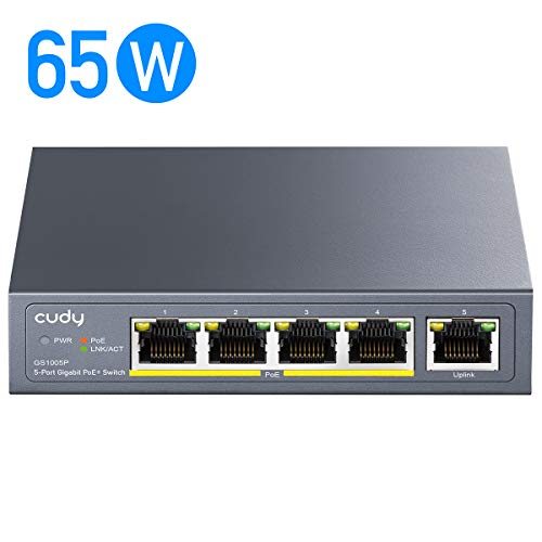 Cudy GS1005P 5-Port Gigabit Ethernet PoE+ Unmanaged Plug-and-Play Switch, 65W, 4 * 10/100/