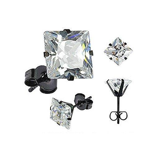 Ohrstecker Zirkonia Edelstahl Damen Herren Ohrringe Kristall schwarz transparent transparent-quadratisch 10 mm (Ohrringe Transparente)