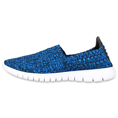 Damen Slip-ons Glitzer Sneakers Helle Sohle Slipper Metallic Blau Weiss
