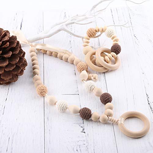 baby tete Anneau de dentition en bois original bébé allaitement Bracelet et collier bébé Crochet perles jouets sensoriels bébé Waldorf jouet