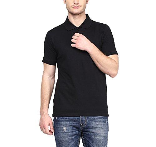 American Crew Men's Polo Collar Black T-Shirt - L (AC025-L)