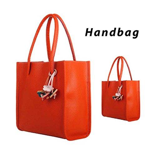 448f5175b6f62 TIFIY Damen Solide Kleiner Anhänger PULeder Reißverschluss Handtasche  Schulter Tasche Orange