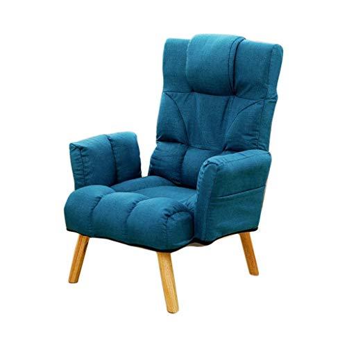 WHLMDZI Einzelsofaliege - Klappsofa - Sessel Mehrfach Winkelverstellbarer Sitz Hocker Beine Abnehmbarer Boden Stuhl Outdoor Camping Garden Lounge Chair Weiche Schwammfüllung (Color : Blue) (Abdeckung Boden Hochstuhl)