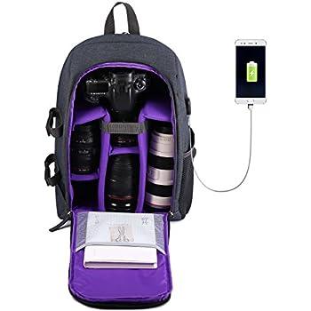 """Sac à Dos pour Appareils Photos Professionnel pour Appareil Photo Reflex DSLR Avec Chargeur de Port USB et Ordinateur Portable 14 """" (Violet)"""