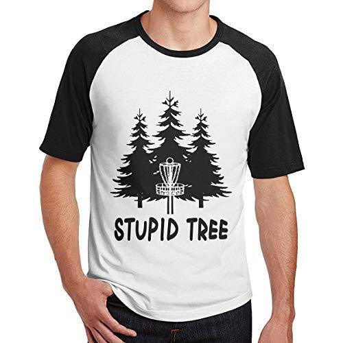 Disc Golf Stupid Tree for Men Short Sleeve Raglan Shirt Raglan Baseball Tee -