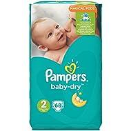 Pampers Baby-Dry Größe 2,3-6 kg Big Bag, 2er Pack (2 x 68 Stück)