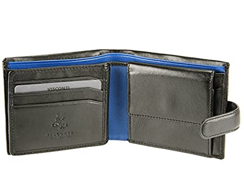 Visconti Tabbed Leather Wallet For Credit Cards, Notes, Coins - Leonardo PM102 (Black/Blue)