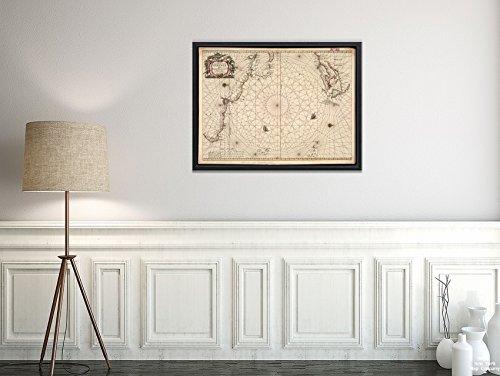 New York Map Company LLC 1661 Karte Atlantik Ozean Pascaerte Van 't Westelyckste deel vande Spaense Zee, Tuschen Brasil, de zou, Historischer Antik-Vintage-Look -