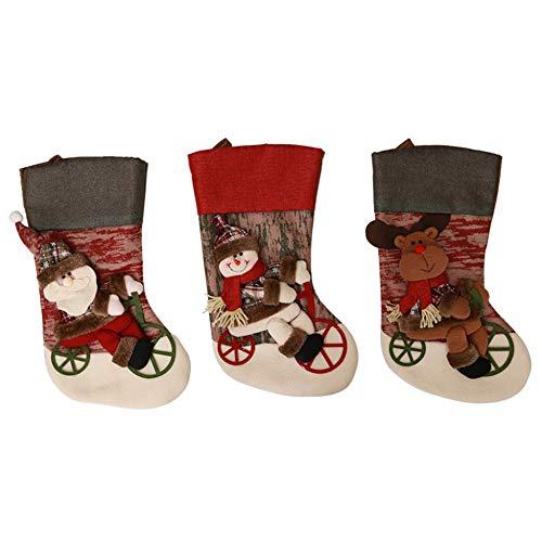Zhou yunshan decorazione natalizia per la casa set di 3 calze natalizie classiche big size classic toys calze regali decorativi per feste merry christmas