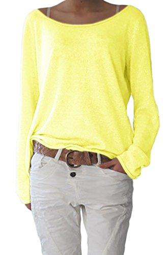 Damen Rundhalsausschnitt Langarm Lose Bluse Strickpulli Hemd Shirt Oversize Sweatshirt in Vielen Trend Farben Tops S/M L/XL (632) (L/XL, Neon Gelb)