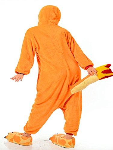 Moollyfox Adulte Unisexe Anime Animal Costume Cosplay Combinaison Pyjama Outfit Nuit Vêtements Onesie Fleece Halloween Costume Soirée de Déguisement Orange1