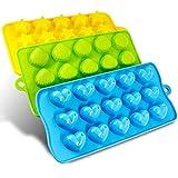 HelpCuisine® 3er Set in verschiedenen Formen Eiswürfelform, Pralinenformen für Eiswürfel, Schokolade, Süßigkeiten - 100% Lebensmittelsilikon, BPA frei - (3 Stück Herzen, Sterne und Muscheln)