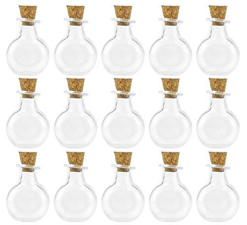 FiveSeasonStuff 20 Stück Mini transparente Glasflaschen, Wünschen Flaschen, Drift Flaschen, Fläschchen mit Korken Stopper für Parfüm, Duftstoffe, Öle, Samen, Sand, Perlen, Muscheln, Gewürze, Schmuck, Anhänger, für Dekorationen, Hochzeitsgeschenke, DIY Handwerk - Sand-souvenir-flasche