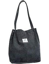 Proglam Donne Corduroy Tote da Donna Casual Spalla Pieghevole  Riutilizzabile Shopping Bag Spiaggia Nero 24c3066574e