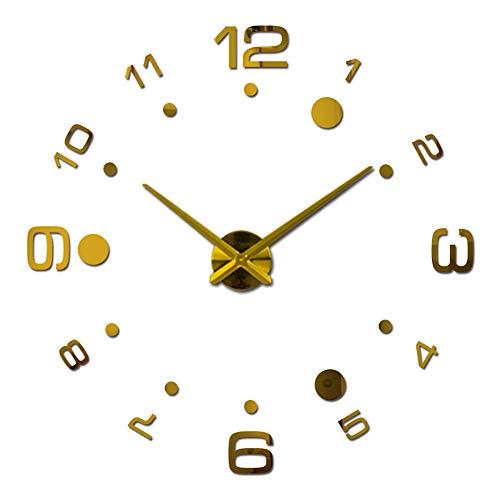 Da.Wa 1X DIY Reloj de Pared sin Marco Espejo Grande 3D Sticker Dorado 80cm-125cm