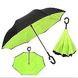 YENJOS Kreativer umgekehrter Doppelschicht-Regenschirm-winddichtes Auto, das Regenschutz Steht Sonnenschirme