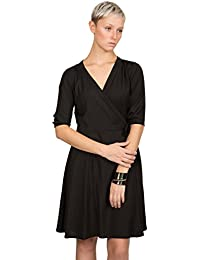 likemary V-Neck Wrap Dress With 3/4 Sleeves