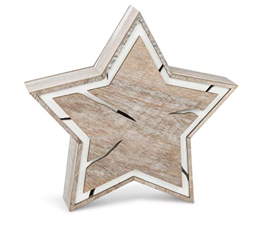 Small Foot Company Luz con Forma de Estrella Compacto sobre trozo de Madera en diseño de Shabby Chic, xilografías en marrón y Blanco, decoración navideña con iluminación a Pilas