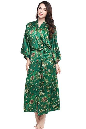 """ArtiDeco Kimono Floral Largo Bata Novia Kimono de Seda Túnica de Satén 1920s Ropa de Dormir Despedida de Soletera 53"""" (Verde)"""