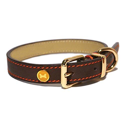 Rosewood 04017 Leder-Hundehalsband für Halsumfang von 35.6-45.7cm, braun