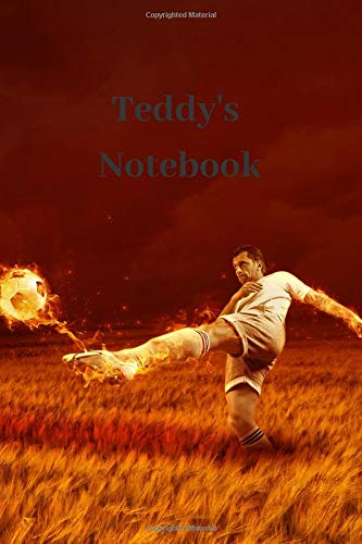 Teddy's Notebook: Personalised Football Cover Notebook | 160 Ruled Pages | 6x9 Journal | Paperback Diary | Glossy Finish por Nikki J Dalby