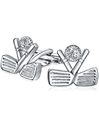 Bling Jewelry Mens Sports Clubs de Golf et bille de boutons de manchette plaqué rhodium
