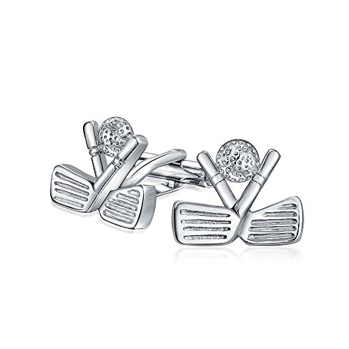 Bling Jewelry Mens Sports Clubs de Golf et bille de boutons de manchette plaqué rhodium