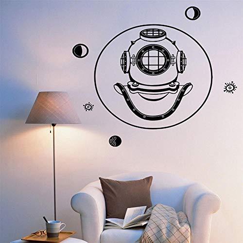 Bomdow Alten Helm Marine Meer Ornament Vinyl Wandtattoos Für Schlafzimmer Wasserdicht Kunst Aufkleber Interior Decor56X58 Cm