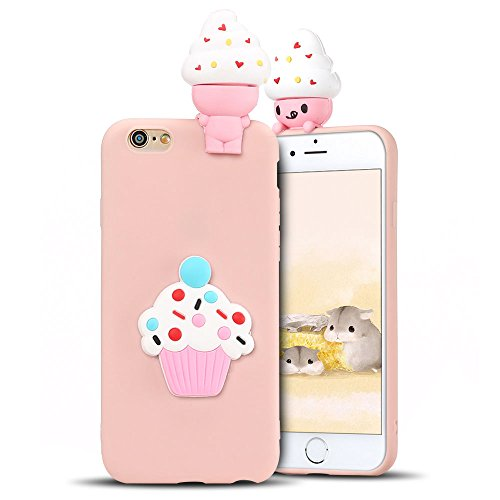 Coque pour iPhone 6S Plus ,Etui iPhone 6 Plus , Transparente TPU Case Silicone Slim Souple Étui de Protection Flexible Soft Cover avec Charmant Fruit Motif Coloré Anti Choc Ultra Mince Integrale Couve Crème Glacée