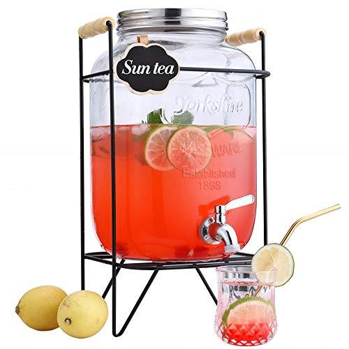LU XUE Getränkespender/Getränkespender/Einmachglas/Getränkespender/Getränkespender/Getränkespender, Glas, mit Ständer und auslauffreiem Zapfen, transparent 2 Gallon with metal spigot -