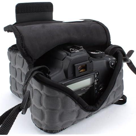 USA GEAR Funda Cámara Reflex Reforzada y Parcialmente Impermeable de Neopreno – Compatible con Canon EOS 1200D , 700D , 100D / Nikon D3200 , D3100 - color Negro Marfil y