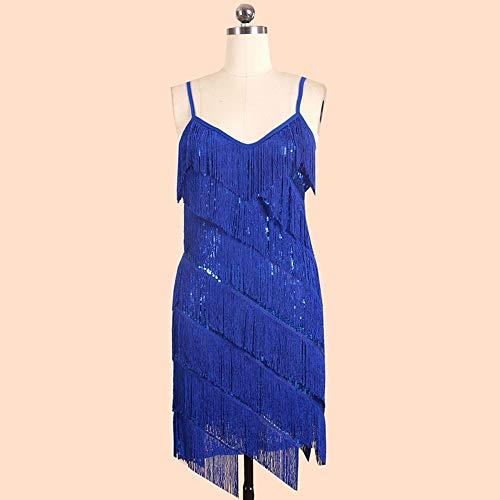 ZONA Elegent Tasssel Pailletten Latin Kleid Schulter Strape Tanzkostüm Schwarz Blau Weiß Rot Charming (Color : Blue, Size : L)