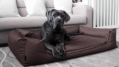 tierlando® Orthopädisches Hundebett GOOFY VISCO fest gewebtes Polyester Hundesofa M L XL XXL XXXL | 80 - 185 cm | 30 Farben (G3 | 80 x 60 cm, 01 | Braun)