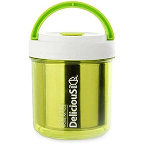 FOOD JIA Estudiantes niños pequeño de acero inoxidable doble capa aislante almuerzo almuerzo Bento caja caja caja de almacenamiento seguros 0.8 L , green ,