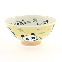 2 Pc Japanese Yellow Pandagreen BMB Rice Bowl Set Includes 2 Bowls
