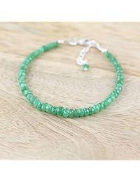 LOVEKUSH Beautiful AAA++ Quality Tsavorite Garnet Bracelet in Sterling Silver, Rose or Gold FilledFilled Filled. Dainty Green Gemstone Beaded Stacking Bracelet. Delicate Layering Jewelry 3mm