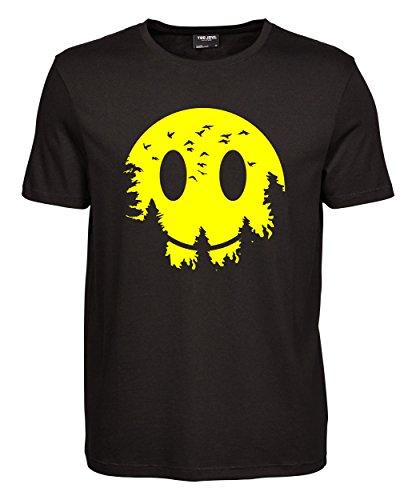 makato Herren T-Shirt Luxury Tee Smiley Moon Black