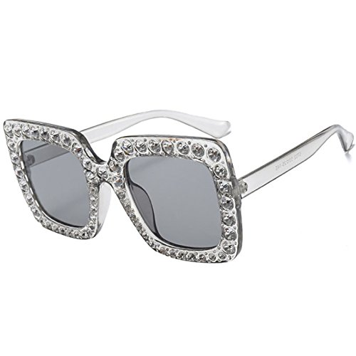 AchidistviQ Fashion Classic quadratisch Rahmen glänzend Strass UV400Sonnenbrille Frauen Eyewear...