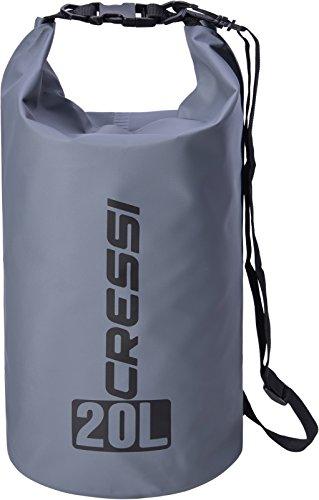 Cressi dry bag sacca/zaino stagna per attività sportive, unisex adulto, grigio, 20 l