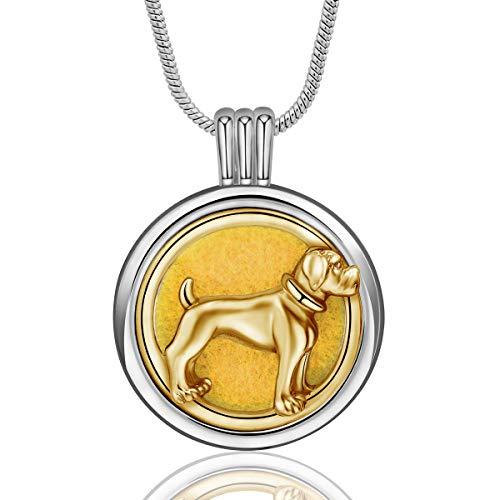 INFUSEU ätherisches Öl Diffusor Frauen Halskette, Silber & Gold plattiert Aromatherapie Hund Medaillon Anhänger mit 6 Farbe Refill Pads Kette 24