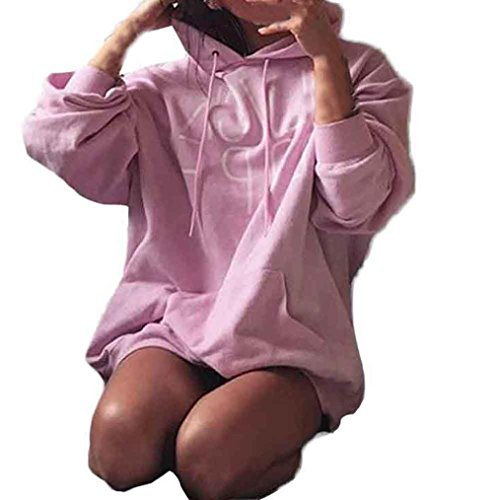 OverDose Damen Frauen arbeiten Brief Printing Sweatshirt Pullover  Strickjacke Crop Top Coat Sport Pullover Long Tops Rosa
