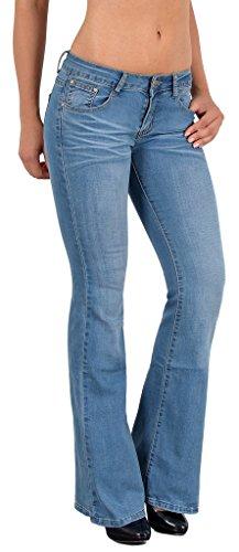 by-tex Damen Jeans Damen Bootcut Jeanshose Schlaghose Damen Hüftjeans Hüfthose in aktuellen Designs AA (Schlaghose Baumwoll)