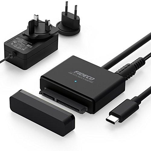 """FIDECO Adaptador USB 3.1 a SATA I/II/III con UASP 10 TB Max para 2.5""""/3.5"""" HDD/SSD con 12V 2A Adaptador de Corriente (Type C)"""