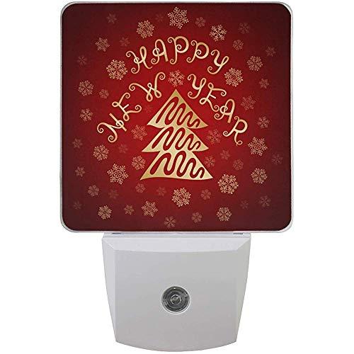 Katrine Store Happy New Year Night Light Plug in per bambini neonati, Winter Snowflake Night Lights Auto Motion Senor per bagno Bedroomativ