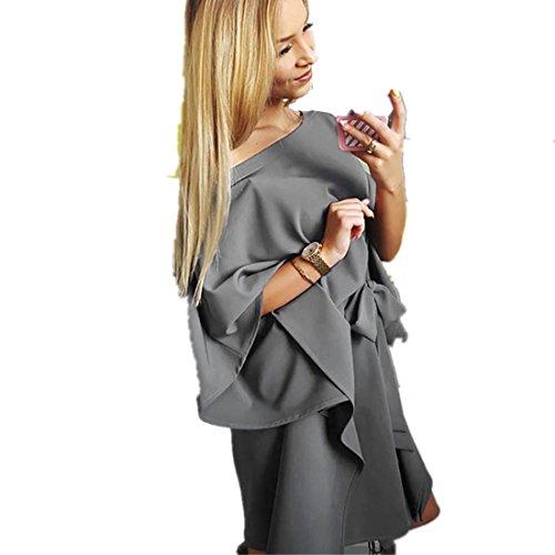 Kleid Damen Kolylong® Frauen Elegant Trägerlos Langarm Kleid Festlich Chiffon Kleider Vintage Kurz Kleid mit Gürtel Minikleid Strandkleid Bodycon PartyKleid Abendkleid Bluse Top (XL, Grau)