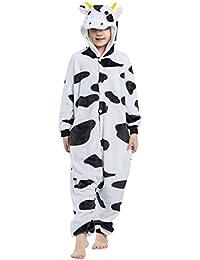 Pijama Vaca Lechera, Franela Onesie Animal Cosplay para Niños entre 9,0 y 1,46 m Unisex Kigurumi